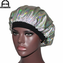 Unisex Women Holograph Bonnet Silk inside Turban Beanies Skullies Wide Band Sleeping Cap Hat