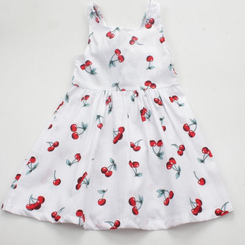 Summer Casual Cherry Print Girls Dress Toddler Bowknot A Line Princess Dress Cotton Sleeveless Kids Vestidos Baby Girl Clothes
