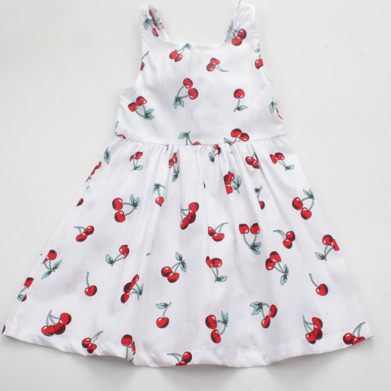 Summer Casual Cherry Print Girls Dress Toddler Bowknot A Line Princess Dress Cotton Sleeveless Kids Vestidos Baby Girl Clothes summer baby girl s dress cloth cherry blossom korean version sleeveless vest dress princess bow tie vestido