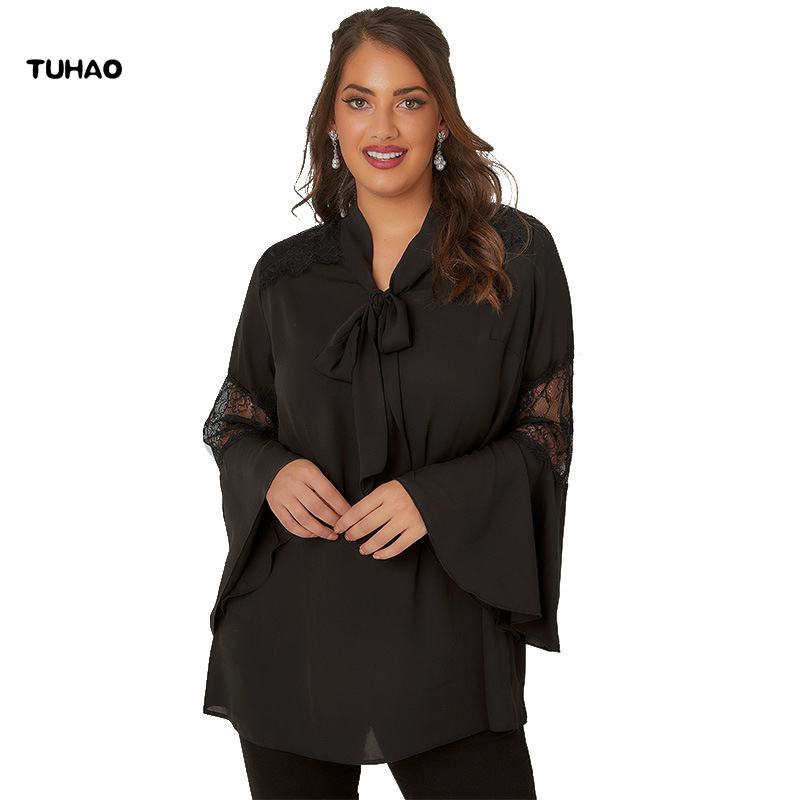 TUHAO 2019 Spring Elegant Black Blouses Shirt Women Flare Sleeve Big Size 5XL 4XL 3XL Lace Blouse Plus Size Tops Femme JLSM