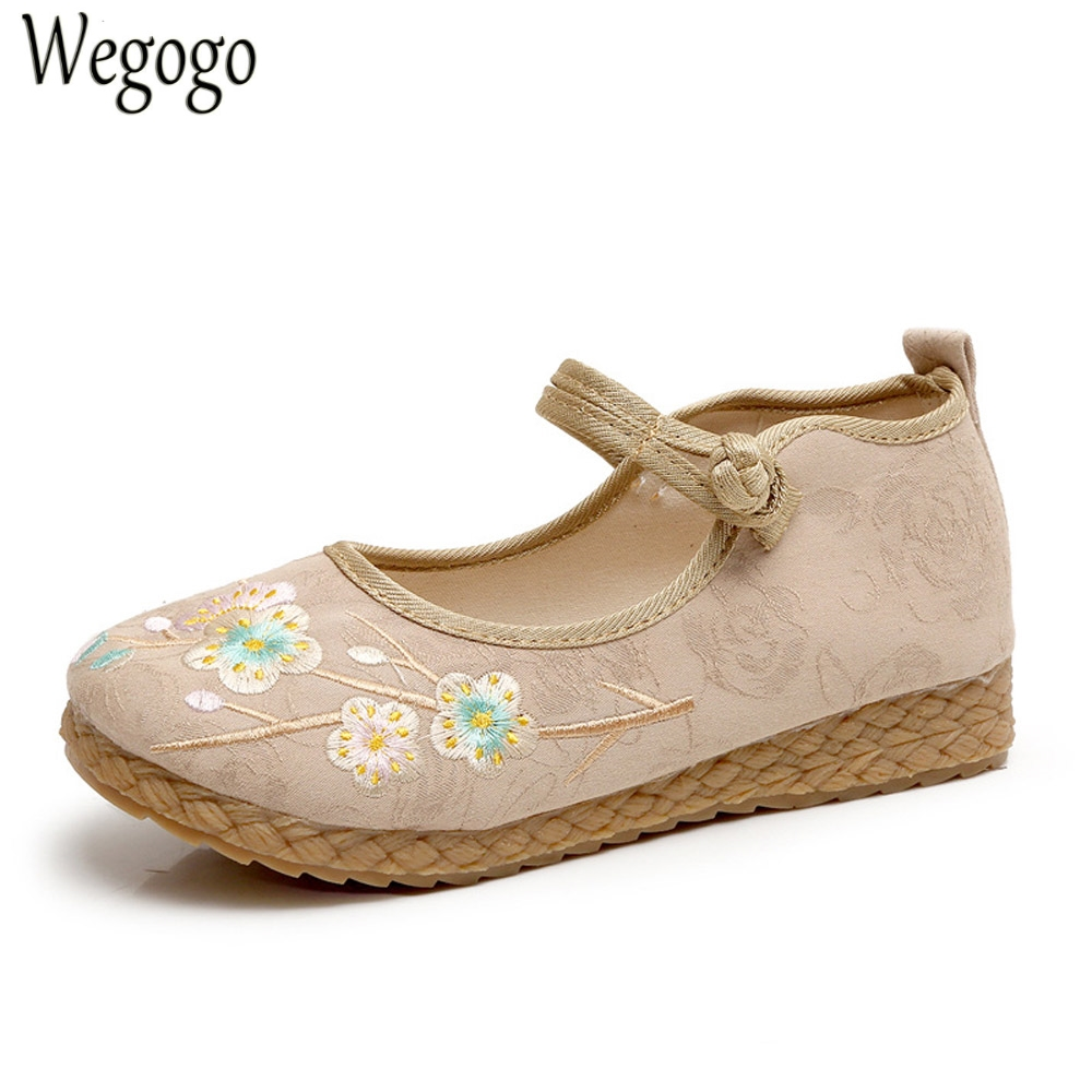 Wegogo Women Shoes Flats Thailand Boho Cotton Linen Canvas Floral Embroidered Cloth National Soft Woven Round Toe Ballet Shoes vintage embroidery women flats chinese floral canvas embroidered shoes national old beijing cloth single dance soft flats