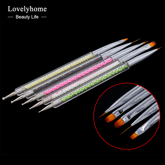 5pcs/ set Nail Art Two Head Brushes Pens Pearl Handle For UV Gel Polish Paint Drawing Liner Dotting Brush Nails Tools Manicure