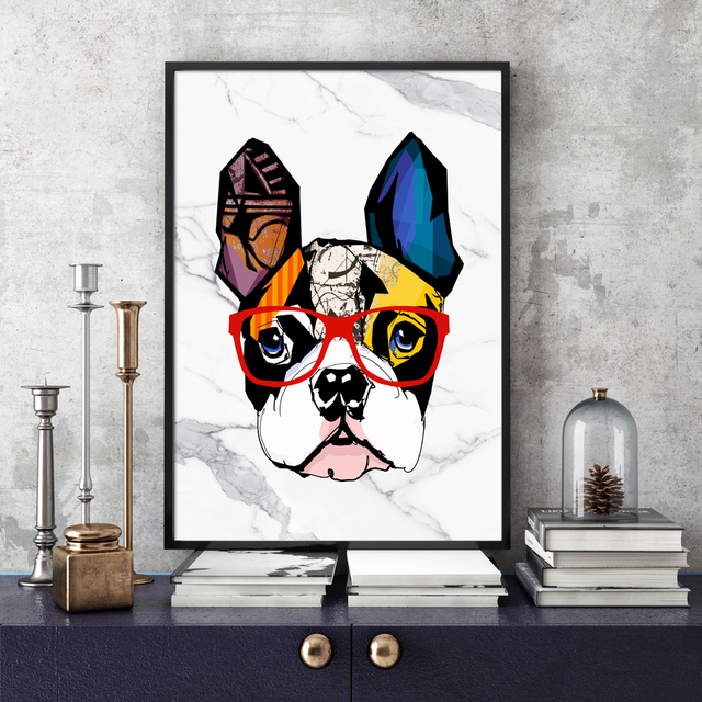 Abstract Marble Bulldog Graffiti Wall Art Canvas Painting 1