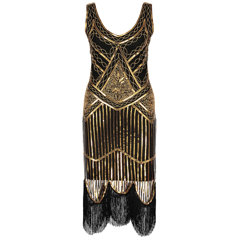 Embellished Art Deco 1920s Flapper Dress Vintage Roaring 20s Great Gatsby  Costume Dress Fringed Beaded Sequin 74b39e2a179a