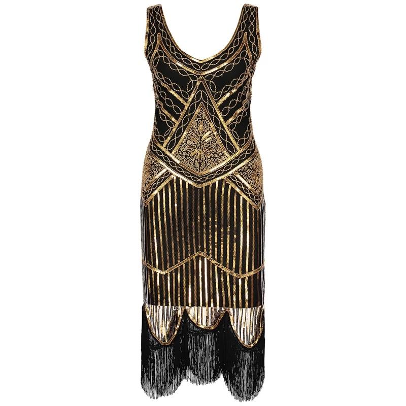 1920s Flapper Dress Headband Gatsby Vintage Art Deco Fringe Sequin Party Dresses