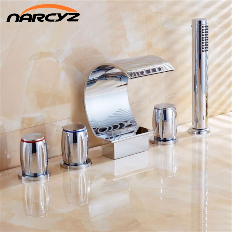 New Style 5 pcs Bathtub Faucet Chrome waterfall spout Mixer Taps Chrome Brass Bathroom Shower Faucet with Handshower XR8217