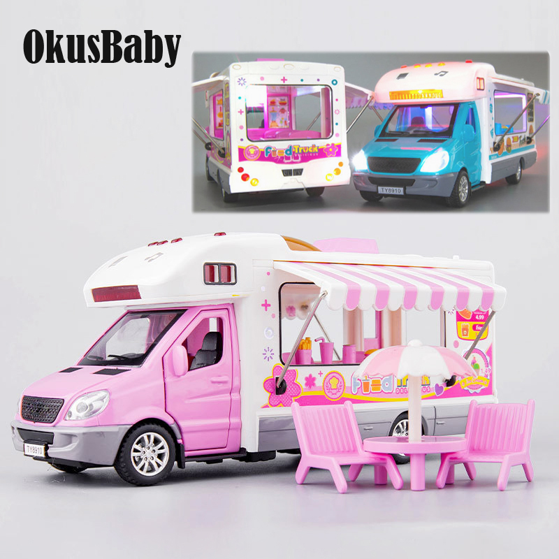 Creative Music And LED Children Toy Car Fast Food Drink Truck Vacation Pull-back Toy Vehicle Model Open Doors With Mini Chairs