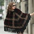 Натуральный Мех Шали Пончо Для Женщин Мода Дамы Новый 2016 Новый Роскошный Подлинная Норки Шали Зимние Вязаные Шарфы
