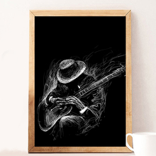 Rock Guitarist Vintage Poster And Prints Wall Art Canvas Painting Pictures For Cabaret Ktv Karaoke Bar Decor