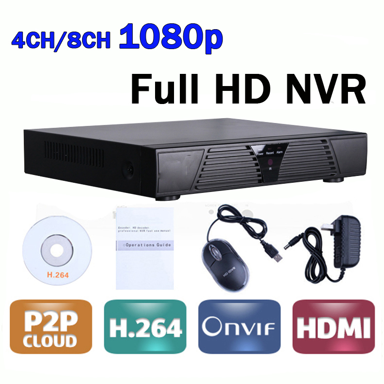 CCTV Mini DVR 4 Channel / 8 Channel Network Video Recorder 4CH/8CH NVR Onvif P2P H264 with HDMI and VGA Output dvr 4 channel 4pcs indoor dome 700tvl cctv cameras with ircut night vision hdmi video recorder h 264 remote view cctv system