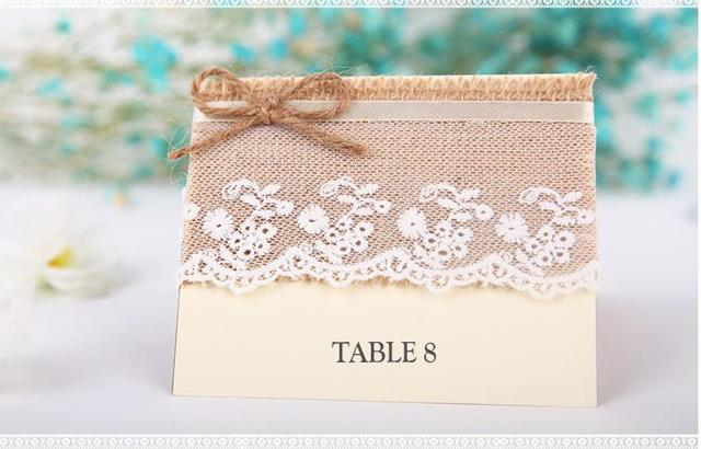 Wedding Table Cards Jute Burlap Reception Card With Lace Rustic Numbers Vintage Banquet