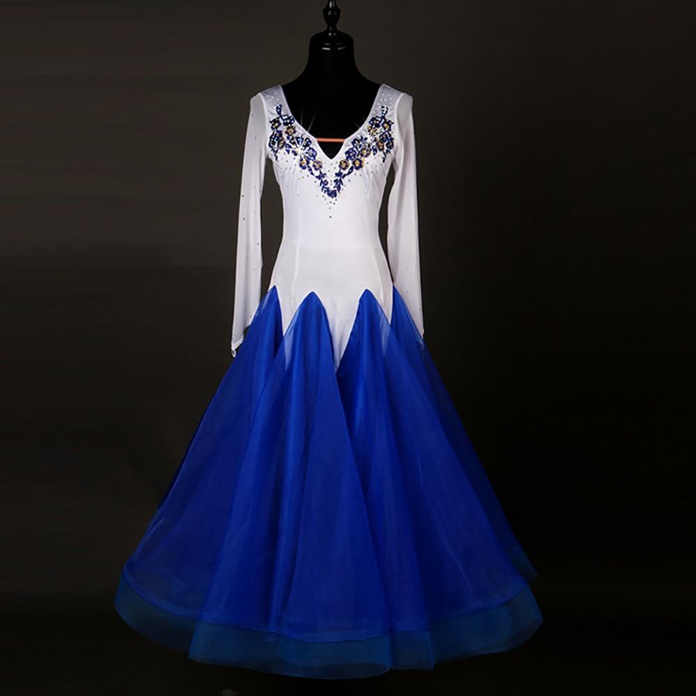 Nouvelles robes de danse modernes pour dames couleur bleu/blanc jupe en dentelle femmes valse/Tango/Lulu robe de sirène de salle de bal mode DQ11022