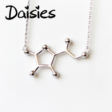 Daisies 1pc Simple Design Vitamin Molecule Necklace Dainty Chemistry Chain Pendant Clavicle Statement Necklace