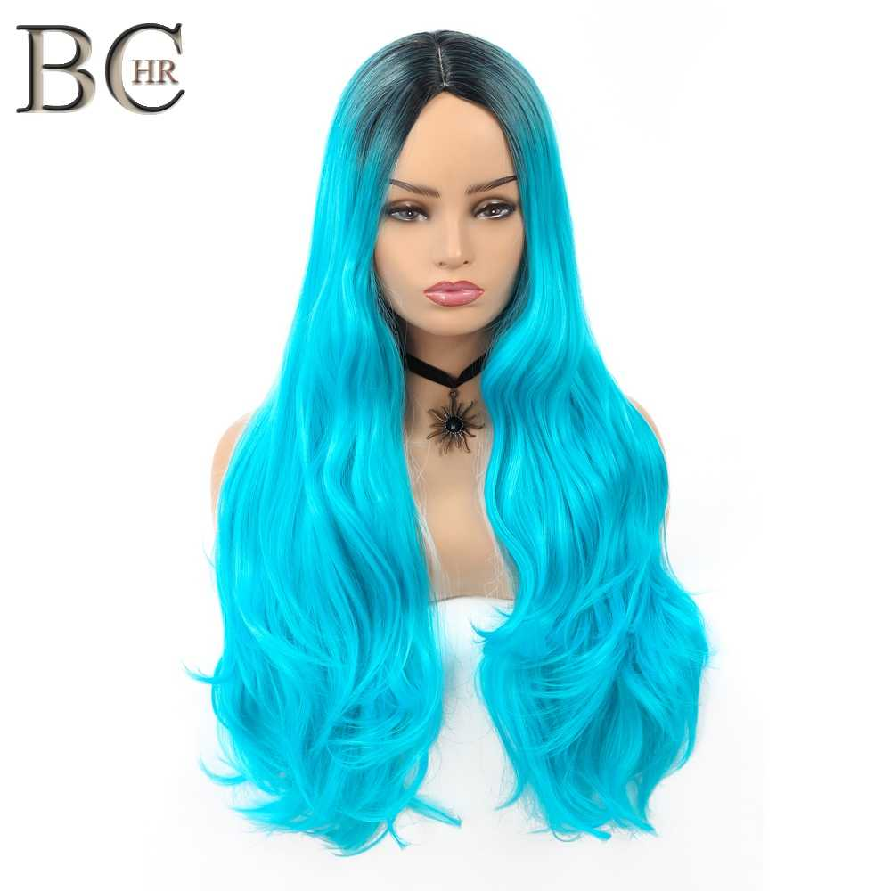 BCHR Long Curly Cosplay Synthetic Wig Middle Part Ombre Purple/Gray/Blue 3 Color For Halloween Party Hairpiece Black Women