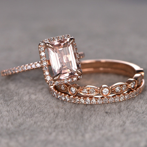 For Women 3pcs 1.4CT Round Cut Morganite Engagement Ring 14k Rose Gold  White Topaz Side