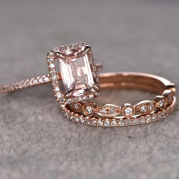 For Women 3pcs 14CT Round Cut Morganite Engagement Ring 14k Rose Gold White Topaz Side Stone