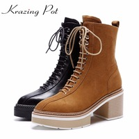 Krazing Pot 2018 genuine leather streetwear platform lace up boots high heels superstar pointed toe women mid calf boots L0f6