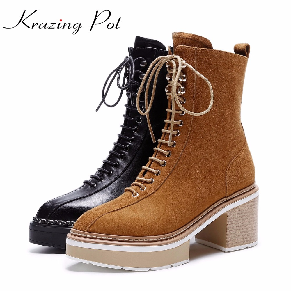 Krazing Pot 2018 genuine leather streetwear platform lace up boots high heels superstar pointed toe women mid-calf boots L0f6 superstar cow suede tassel leather boots platform zipper med heels rivets snow boots round toe mid calf boots for women l2f7
