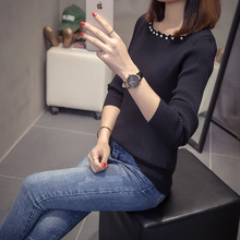Milinsus 2019 Women Autumn Winter Top Black Sweater Large Size Pearl Knit Sweaters Ladies Korean Pulover Femininos De Inverno pulover flora fedi href