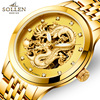 2016 Top Watch Men Luxury Automatic Movement Business Mens 316L Steel Watchband Chinese Dragon LOGO Watches