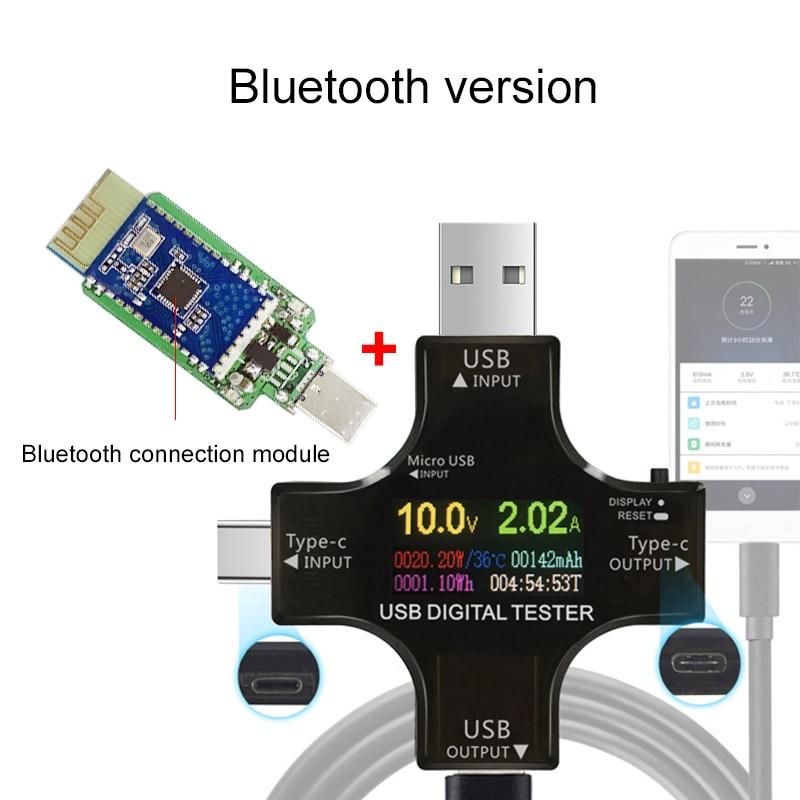 Probador del USB Bluetooth inalámbrico DC voltímetro voltaje USB-C PD meter voltios amperios amperímetro detector cargador Banco indicador