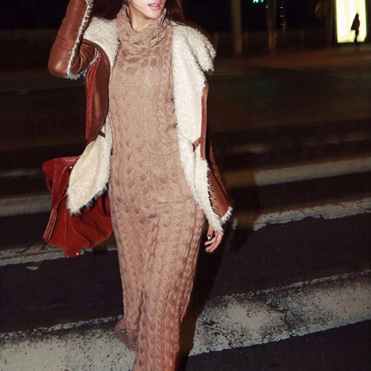 Maxi Knitted Sweater Dress Bodycon Long Turtleneck Pencil
