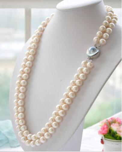 Charming 2row 9-10mm white akoya round white PEARL necklace 19-20AAA>>>hot Sell necklace pendant Free shippingCharming 2row 9-10mm white akoya round white PEARL necklace 19-20AAA>>>hot Sell necklace pendant Free shipping