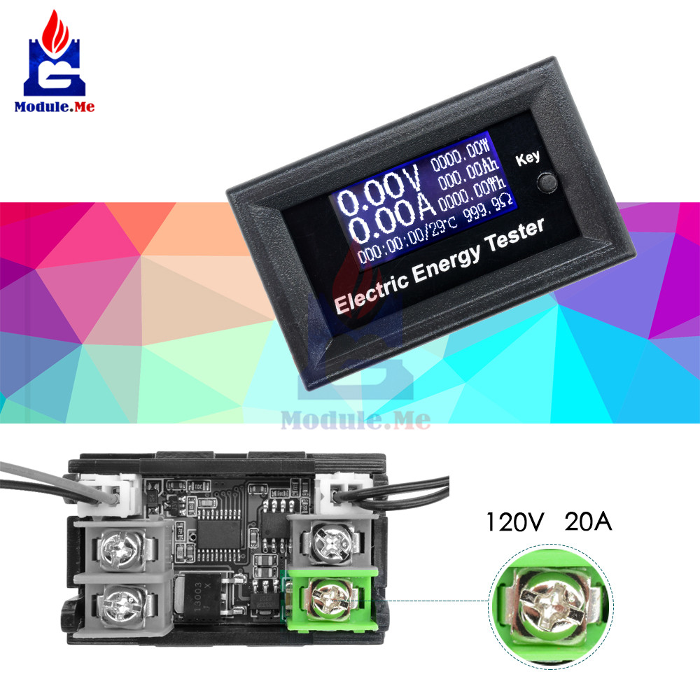 DC 120V 20A LCD Display Ammeter Voltmeter Thermometer Resistance Watt Battery Capacity Meter Detector Tester Sensor Probe WireDC 120V 20A LCD Display Ammeter Voltmeter Thermometer Resistance Watt Battery Capacity Meter Detector Tester Sensor Probe Wire