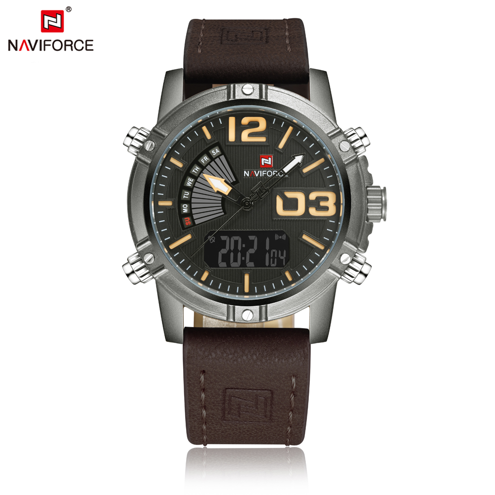 Fashion NAVIFORCE Mens Watches Top Brand Clock Male LED Digital Analog Wristwatch Military Sport Quartz Watch
