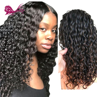 Eayon волосы глубокая волна предварительно сорвал бесклеевого фронтальные натуральные волосы парики для черный Для женщин Реми 130% плотность