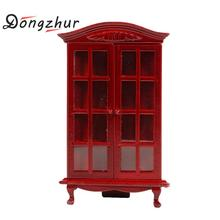 Merveilleux Dongzhur 1:12 Dollhouse Miniature Figurines Furniture Wood Red Glass  Cabinet Display Ornaments Decoration Crafts