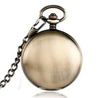 Antique Mechanical Pocket Watch Luminous Needles Smooth Bronze Case Fob Chain Nurse Watches Retro Clock Best
