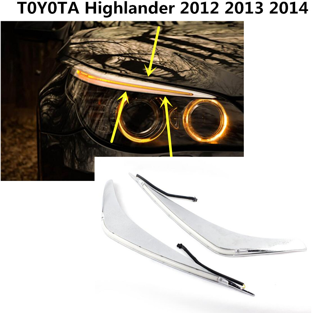 High Quality Car front head Light LED lamp frame stick stainless steel cover trim switch 2pcs for Toyota Highlander 2012-2014 for highlander trim a