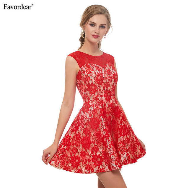 Favodear 2019 New Arrival Short Homecoming Dress Cocktail kleider 100% Real  Red Lace Short Party Dresses Hot Sale a613843903cf