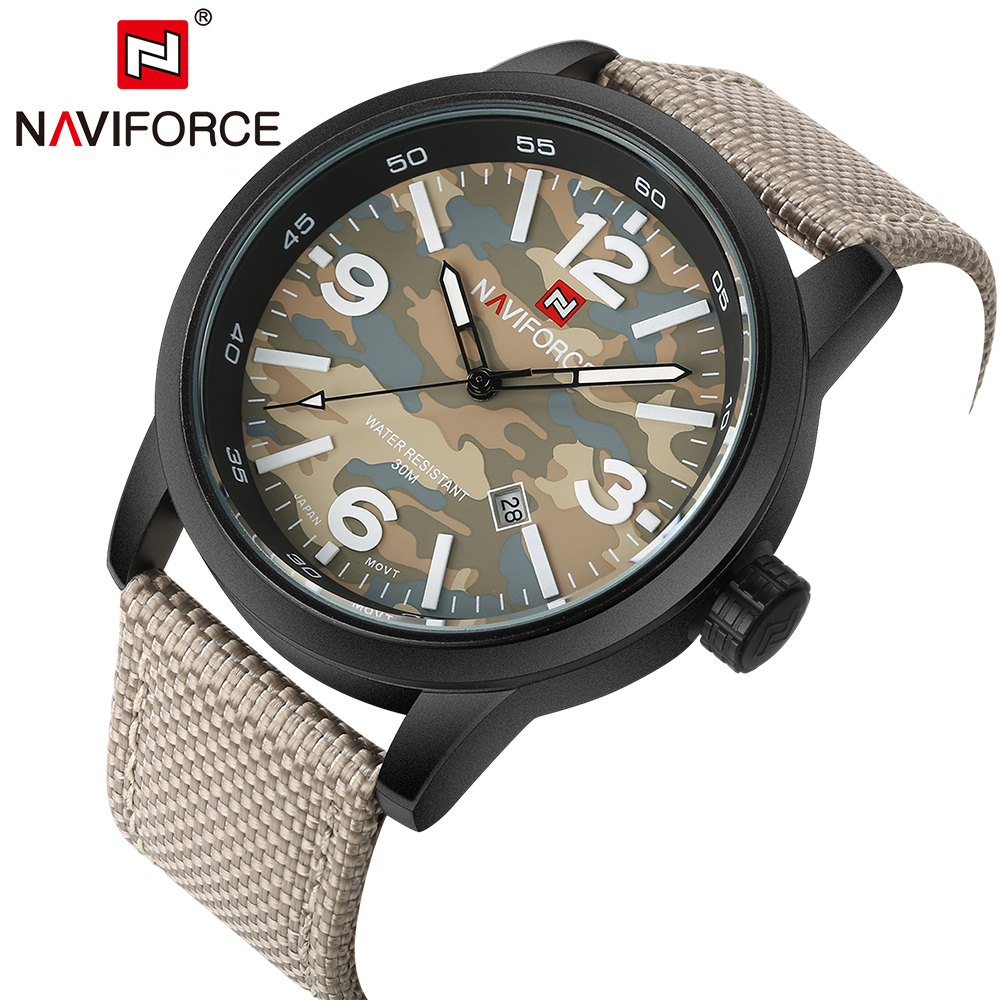 Luxury Sport Men Brand Watches Army Military Style Quartz Analog Clock NAVIFORCE Fabric Strap Wristwatches Date