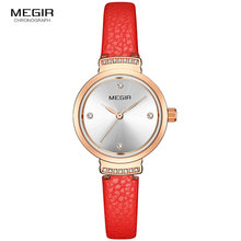 MEGIR Leather Strap Casual Quartz Watches for Women Simple Luxury Relogios Femininos Waterproof Wristwatch Clock Lady 4207 Red