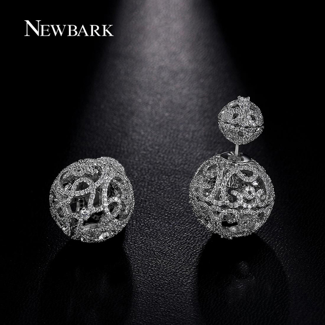 NEWBARK Hollow Double Ball Stud Earrings Symmetrical Heart Romantic Cloud Tiny CZ Cubic Zirconia Paved White Gold Plated Earring