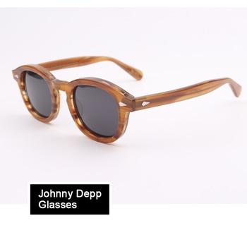 Johnny Depp Óculos Polarizados Acetato de Vidros Ópticos Quadro Homens Mulheres Óculos de design Da Marca Do Computador Transparente Q101-2