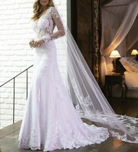 Vestido de noiva Sexy See Through Bodice Mermaid Lace Wedding Dress Long Sleeves Keyhole Back Bride Dress 2019 New Arrival