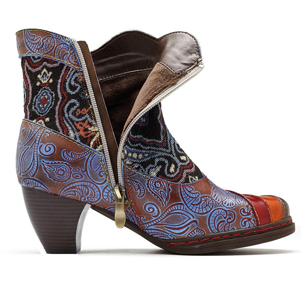 Bloc Zip Femmes Rétro Imprimé En Mujer Bottes Cheville Cow Gris Chaussures girl Cuir Mstacchi Dames Véritable Bateaux Bohème Vintage Talons nxq0FAwU8