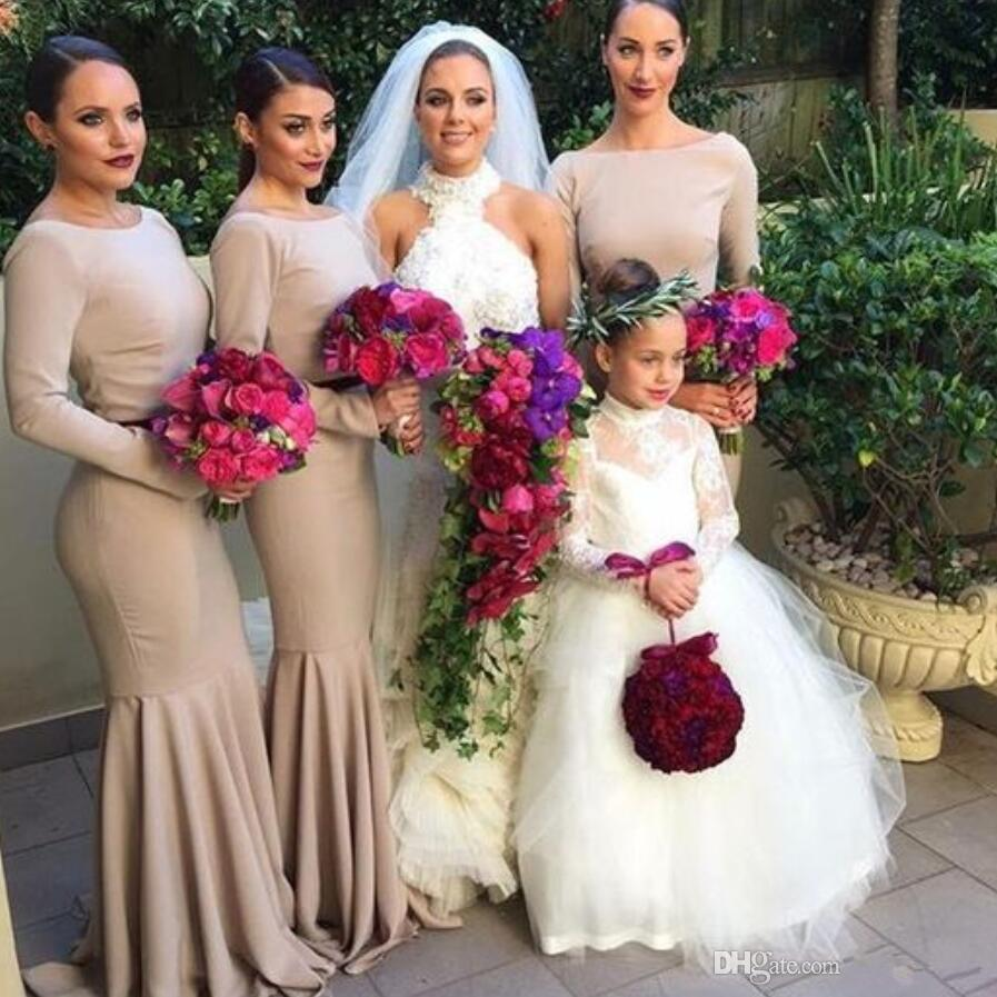 Online get cheap scoop neck chiffon bridesmaid dress with ruffle 2017 new grey long sleeve crew neck mermaid bridesmaid dresses fitted backless cheap maid of the ombrellifo Images