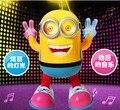2016 новый стиль Электрические игрушки flash music желтый люди Стороны сделать Танец Миньоны фигурку Свет может танцевать 21 см детские игрушки