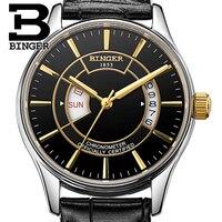 Genuína Marca de relógios Suíça BINGER Mens leather strap mecânico automático self-vento navegador da tabela de safira à prova d' água