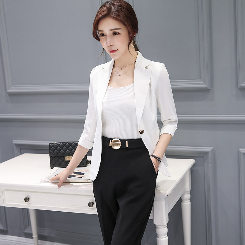 f14417c5c49a Blazer Feminino Manga Longa Slim Fit Plus Size Female Suits And Jackets  Black Ol Style Women S Blazer For Work 3Xl 4Xl Ma099-in Blazers from Women s  ...