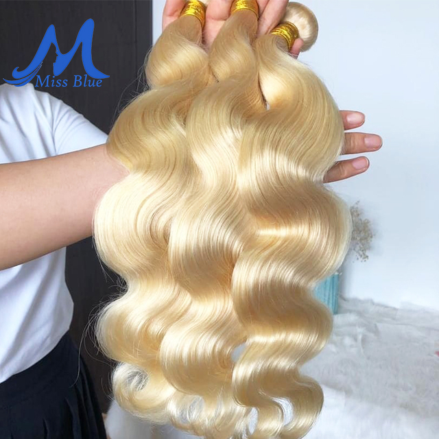Missblue pelo brasileño de la onda del cuerpo 100% rubia mechones de cabello humano postizo 613 Color 3 4 PC Remy extensión de cabello 30 32 34 pulgadas