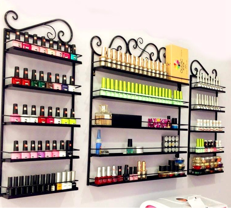 3 Pcs/Set 5 Layer Iron Nail Polish Shelf Black Nail Shop Exhibition Shelf Nail Polish Display Wall Rack Makeup Organizer
