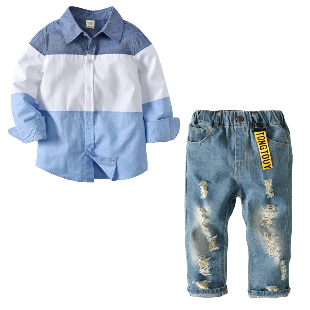 2 Pcs Kids Clothing Sets Long Sleeve Striped Shirt Jeans Ripped Spring Autumn Boys Clothes Set Infant Roupas De Menino 6 8 Years skinny frayed ripped jeans with pockets