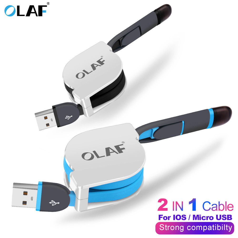 <font><b>2</b></font> <font><b>in</b></font> <font><b>1</b></font> Micro USB Retractable <font><b>Cable</b></font> For iPhone X XS Portable Charging <font><b>Cable</b></font> For <font><b>Samsung</b></font> Huawei Xiaomi Mobile Phone Charger <font><b>Cable</b></font> image