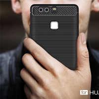 Luxus Weichen Carbon Stoßfest Rüstung Fällen für Huawei P9 fall Silikon Coque Funda Capa für Huawei P9 Abdeckung Fall schutz