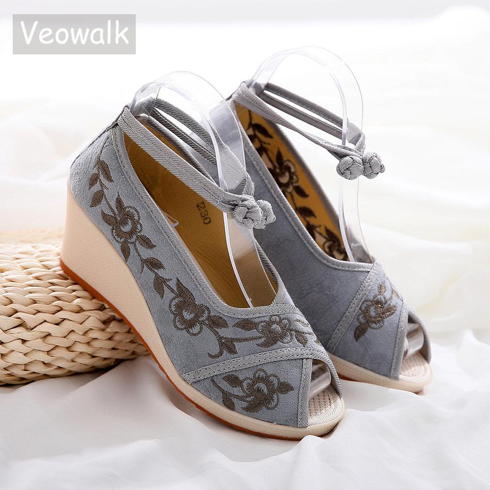 Veowalk Ankle Strap Women Jacquard
